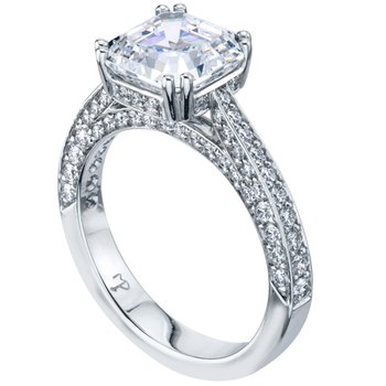 Three-Sided Bead Set Diamond Engagement Ring