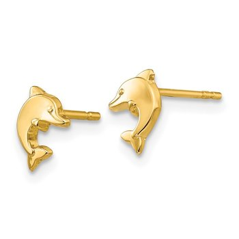 14k Polished Dolphin Post Earrings