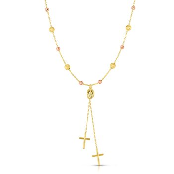 14K Yellow & Rose Gold Cross Lariat Necklace