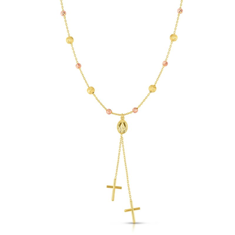 Royal Chain 14K Yellow & Rose Gold Cross Lariat Necklace