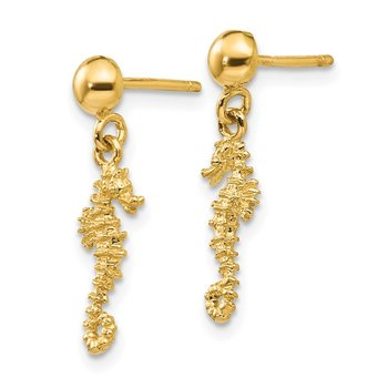 14k 3-D Mini Seahorse Dangle Post Earrings
