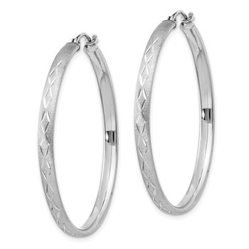 Sterling Silver Rhodium-plated 3mm Satin Diamond-cut Hoop Earrings