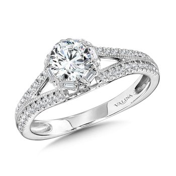 Six-Prong Milgrain-Beaded Split Shank Baguette Halo Engagement Ring