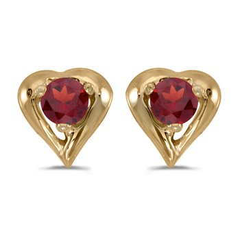 14k Yellow Gold Round Garnet Heart Earrings