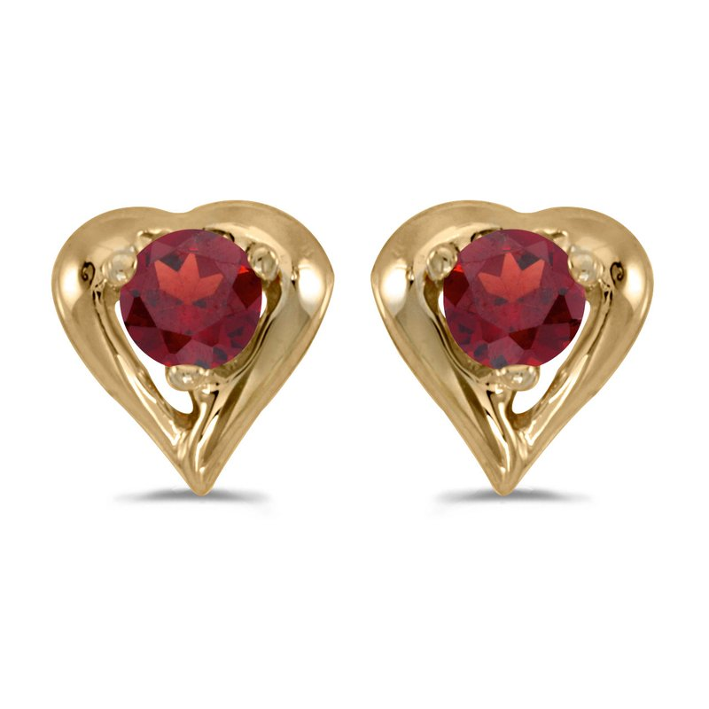 Color Merchants 14k Yellow Gold Round Garnet Heart Earrings