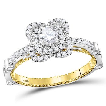 14kt Two-tone Gold Womens Round Diamond Solitaire Bridal Wedding Engagement Ring 3/4 Cttw