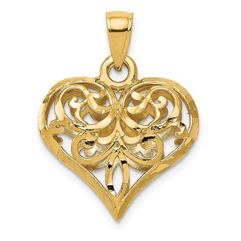 14K Polished 3-D Filigree Puffed Heart Pendant
