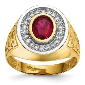 14k w/ Rhodium CZ & Oval Red CZ Mens Ring