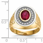 Quality Gold 14k w/ Rhodium CZ & Oval Red CZ Mens Ring