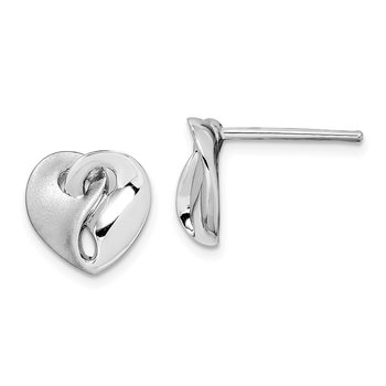 Sterling Silver RH-plated Satin/Polished Intertwined Heart Earrings