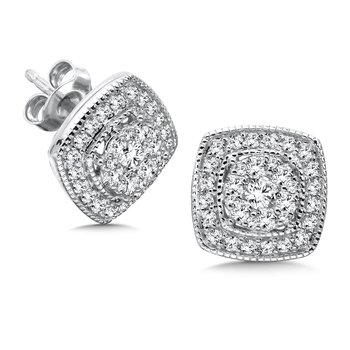Pave set Diamond Cushion Shaped Halo Earrings, 14k White Gold  (1 ct. tw.) JK/I1