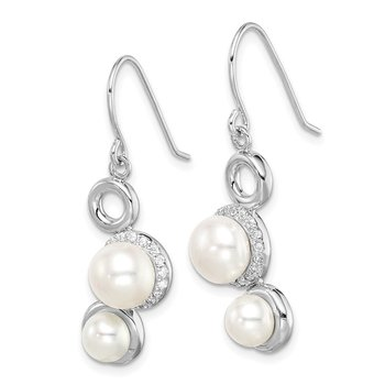 Sterling Silver Rhod-plat 5-6 and 7-8mm White Button FWC Pearl CZ Earrings