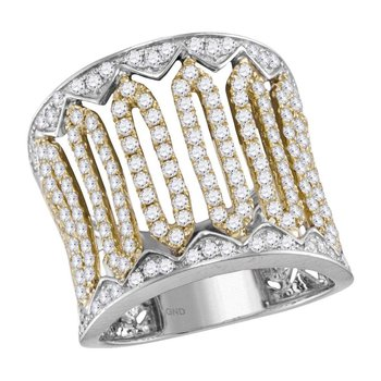 10kt Two-tone White Gold Womens Round Diamond Striped Cocktail Band Ring 1-1/2 Cttw