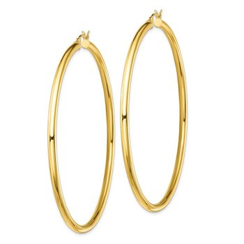 Sterling Silver Gold-Tone Polished 3x70mm Hoop Earrings