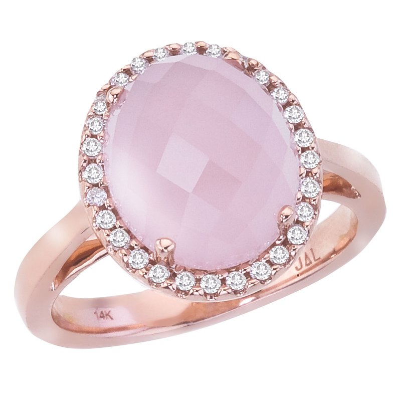 Color Merchants 14k Rose Gold Oval Rose Quartz Cab and Diamond Ring