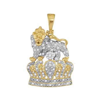10kt Yellow Gold Mens Round Diamond Lion Tiger Crown Charm Pendant 1/3 Cttw