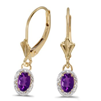 10k Yellow Gold Oval Amethyst And Diamond Leverback Earrings