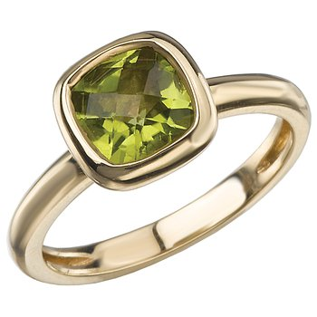 14KY BEZL CUSHION PERIDOT RINGSTACKABLE W/ 311437 and 311441