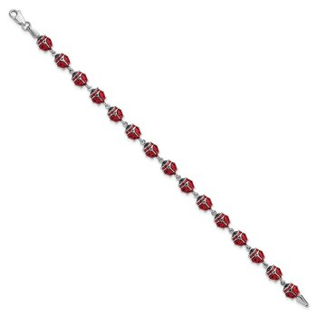 Sterling Silver Rhodium Polished Enameled Lady Bug Bracelet
