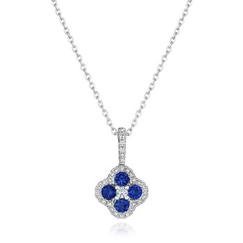 Front & Center Sapphire and Diamond Cluster Pendant