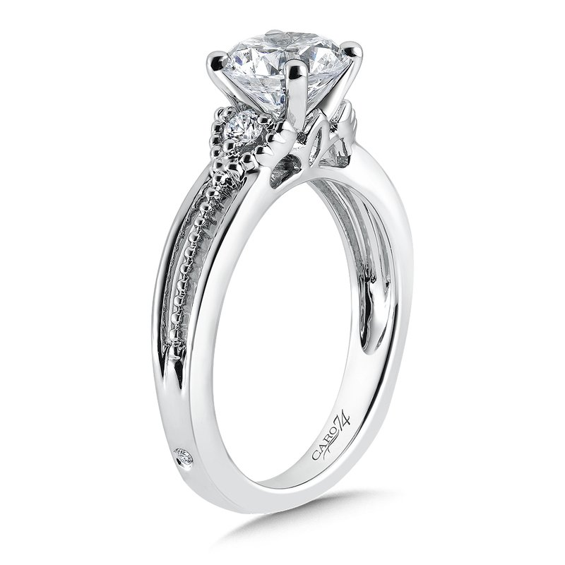 Caro74 3 Stone Engagement Ring in 14K White Gold with Platinum Head (1-1/2ct. tw.)