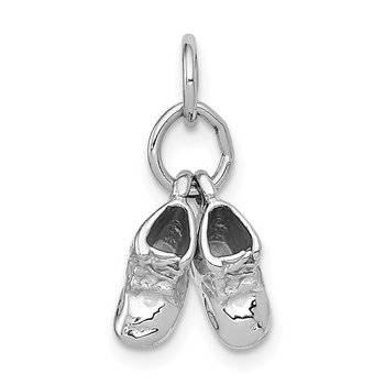 14k 3D Moveable White Gold Baby Shoes Charm