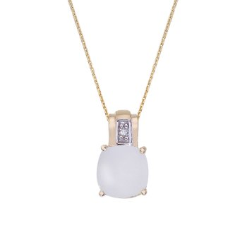 14k Yellow Gold Oval Frosted Cushion Cut White Topaz and Diamond Pendant