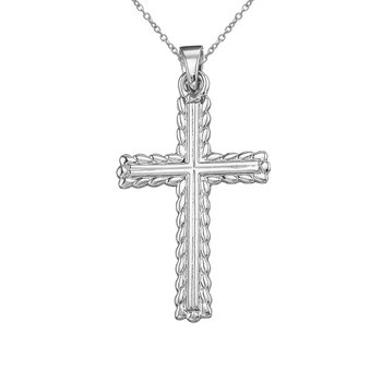 14K White Gold Leaf Cross Pendant