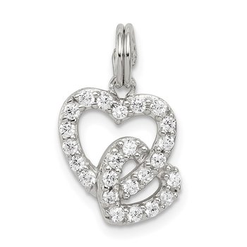 Sterling Silver Rhodium-plated CZ Interlocking Hearts Charm