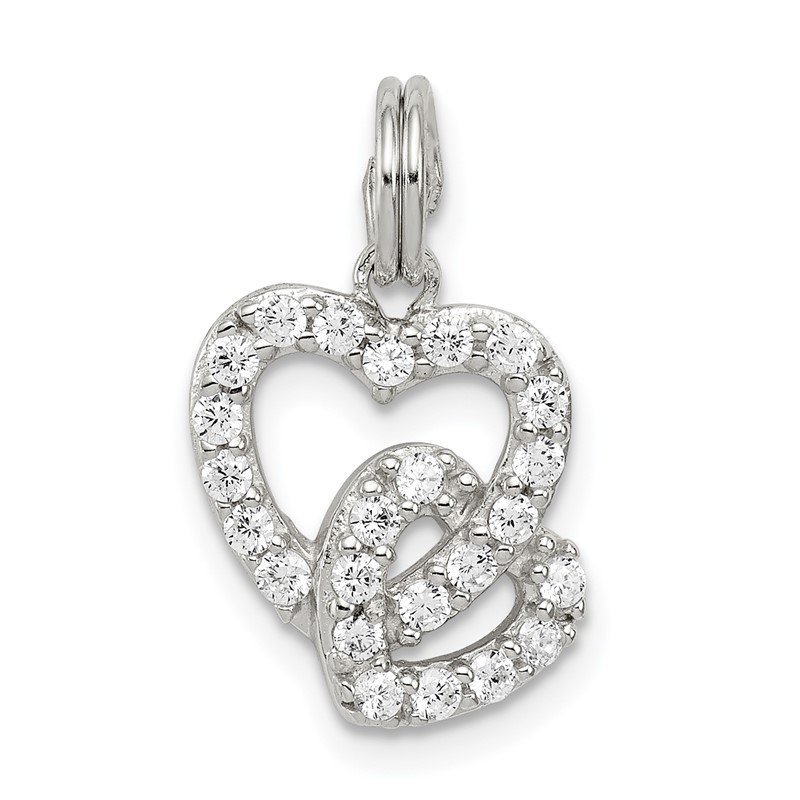 Quality Gold Sterling Silver Rhodium-plated CZ Interlocking Hearts Charm