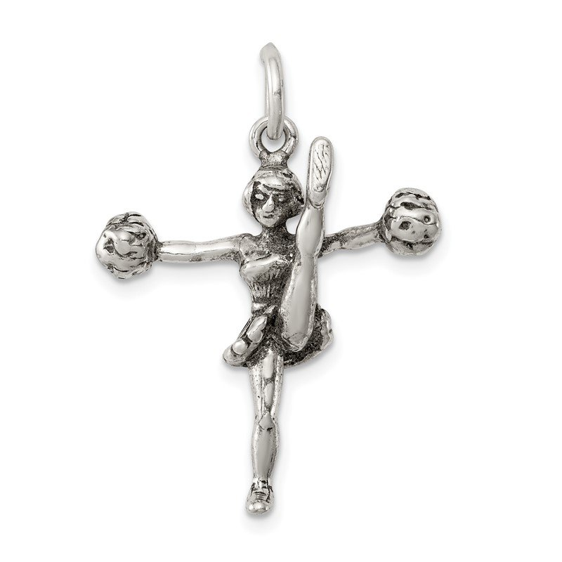 Quality Gold Sterling Silver Antiqued Cheerleader Charm