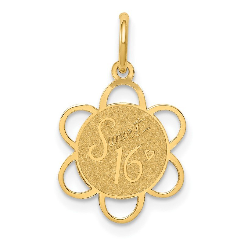 Quality Gold 14k SWEET 16 Disc Charm