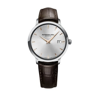 Men's Quartz Watch, 39 mm Steel on leather strap, silver dial, rose gold PVD plated indexes