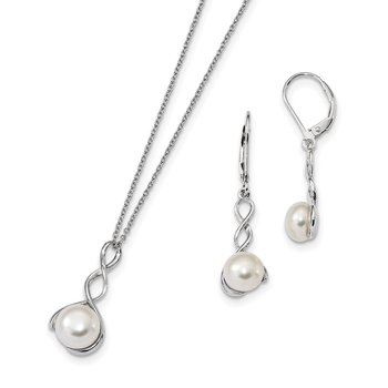 Sterling Silver Rhodium-plated 8-9mm White FWC Pearl Earring/Necklace Set