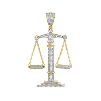 10kt Yellow Gold Mens Round Diamond Scales of Justice Charm Pendant 1.00 Cttw