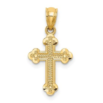 14k Small Budded Cross Charm