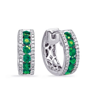 White Gold Emerald & Diamond Huggie