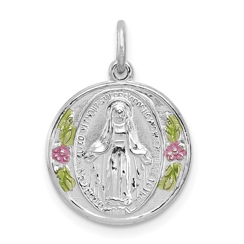 Quality Gold Sterling Silver Rhodium-plated Polished Epoxy Miraculous Medal Pendant