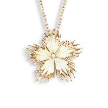 White Rock Flower Necklace.Rose Gold Plated Sterling Silver-White Sapphire