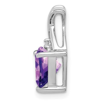 Sterling Silver Rhodium Plated Amethyst and White Topaz Pendant