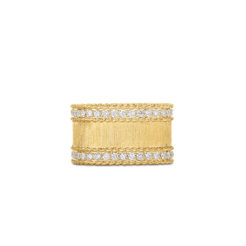 Satin Finish Ring With Diamond Edges &Ndash; 18K Yellow Gold, 7