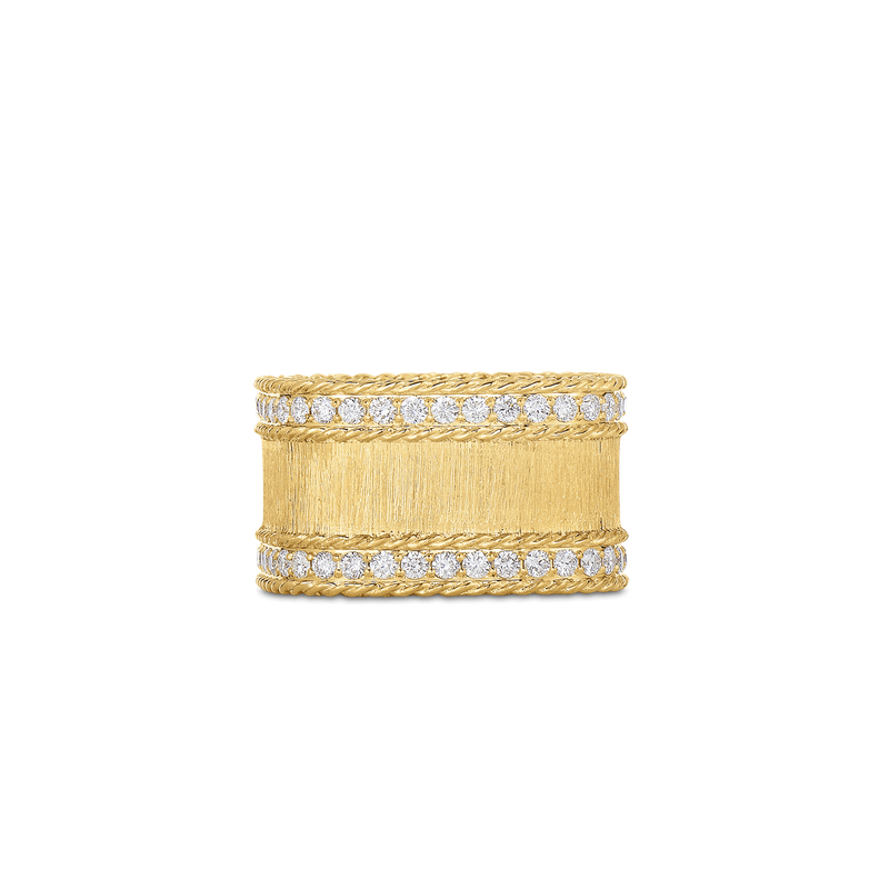Roberto Coin Satin Finish Ring With Diamond Edges &Ndash; 18K Yellow Gold, 7