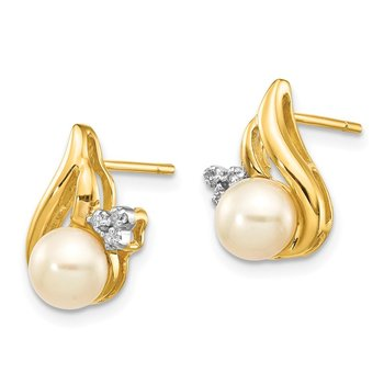 14k and Rhodium 5-6mm Button FWC Pearl .02ct Diamond Post Earrings