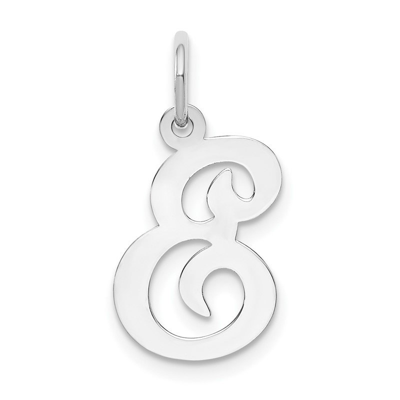 Quality Gold 14KW White Gold Script Letter E Initial Charm