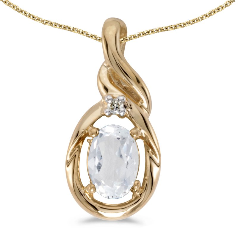 Color Merchants 14k Yellow Gold Oval White Topaz And Diamond Pendant
