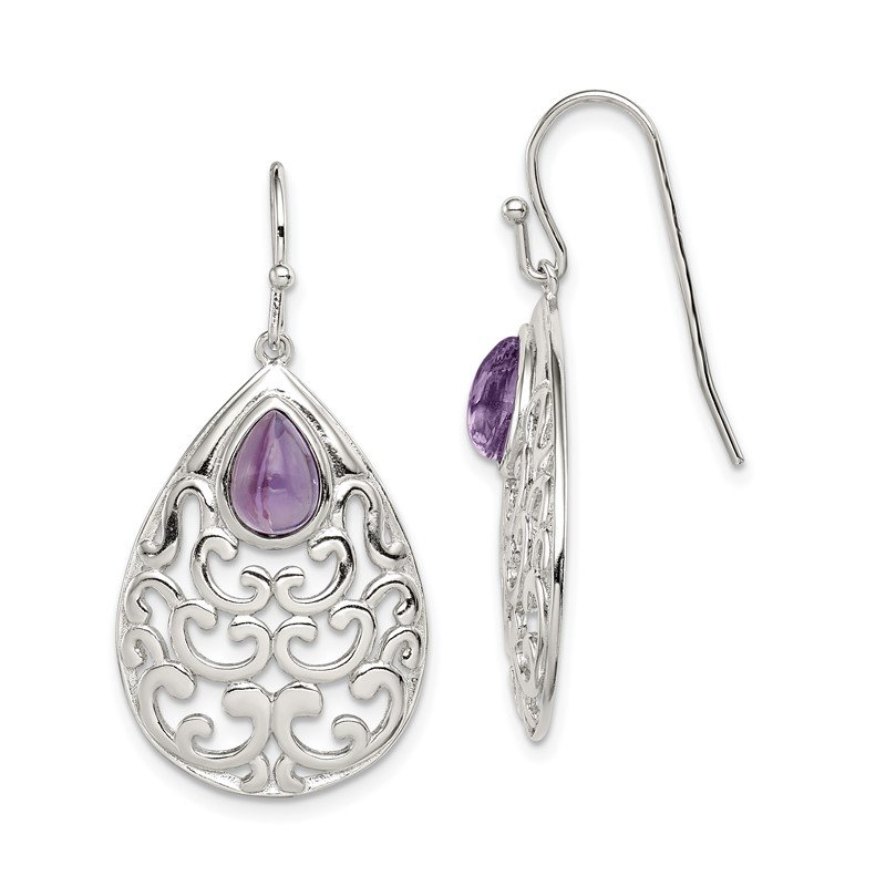 Quality Gold Sterling Silver Amethyst Teardrop Shepherd Hook Earrings