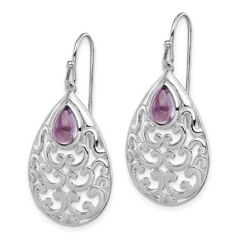 Sterling Silver Amethyst Teardrop Shepherd Hook Earrings