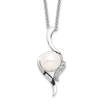 Sterling Silver Rhodium-plated 6-7mm White FWC Pearl CZ Necklace