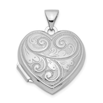 Sterling Silver Rhodium-plated Scrolled Front & Back Heart Locket