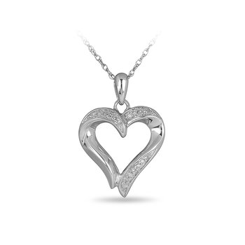 925 SS Diamond Heart Pendant with Chain